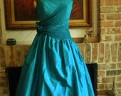Vintage 80s Teal Green Prom Dress. SZ M