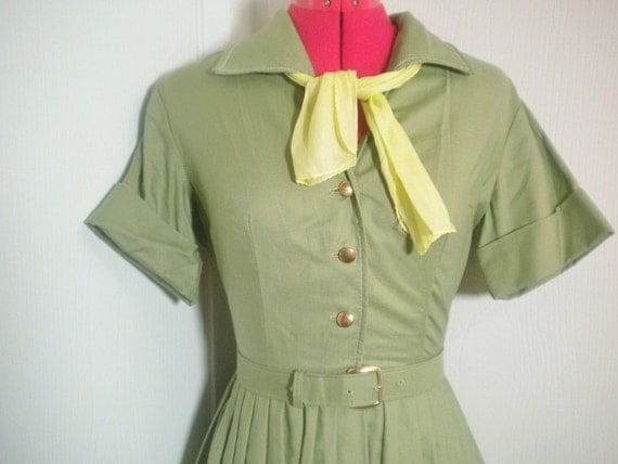 1950s Khaki Green Dress. Army Green Jean.