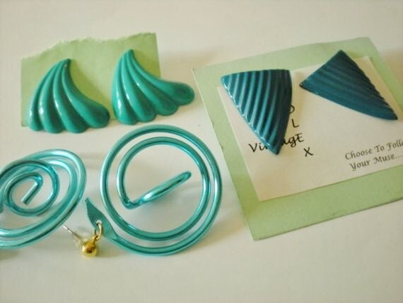 Singing the Blues...3 sets of 1980s Earrings
