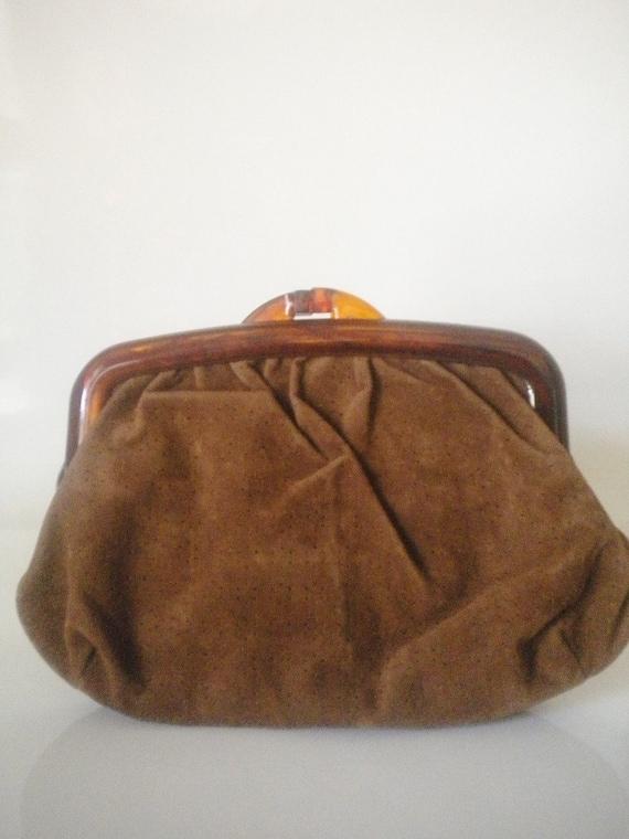 Vintage Velour. 1960s/1970s Brown Clutch w/ Plastic Tortoise Shell Handles