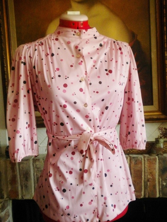 Vintage 70s Pink shirt with Confetti Dots