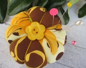 Flower Pin Cushion- Yellow and Brown with Yellow Flower Button