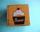 LAST ONE Sweet Cupcake with Cherry Rubber Stamp
