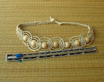 macrame hemp necklace with wooden beads