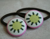 Ponytail Holder with 1 1/8 inch Button - Set of 2