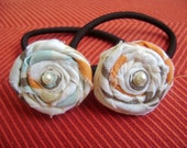 Ponytail Holders with Handmade Roses No 5 - Set of 2