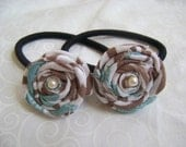 Ponytail Holders with Handmade Roses No 6 - Set of 2