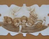 Victorian Children Sepia Card Hammock Die Cut Framed