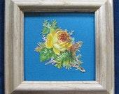 Antique Yellow Rose Picture, English Country Style, Victorian Rose, Cottage Garden Decor, Victorian Die Cut Framed