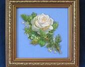 Vintage Victorian Christmas Decor White Winter Rose Die Cut Winter Greenery Fir Sprig Framed