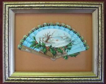 Framed Victorian Picture, Victorian Decor, Peacock Feather Fan, Victorian Paper Diecut, Romantic Decor