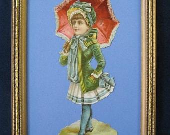 Vintage Victorian Child Portrait, Original 1890's Victorian Scrap Lace Parasol Silk Bonnet