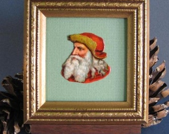 Victorian Santa Portrait Vintage Santa Picture Christmas Holiday Mantel Decor Original Die Cut on Display Easel