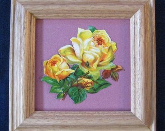 Framed Roses Picture Bohemian Cottage Decor Roses Yellow Mauve Framed Flower Picture