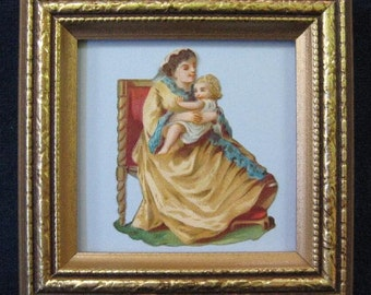 Mother's Day Gift 1890's Victorian Mother and Child Die Cut Framed