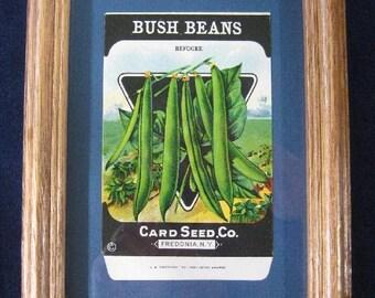 Garden Gift Vegetable Garden Art Rustic Kitchen Vintage Card Seed Packet Pack Bush Beans
