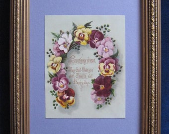 Victorian Garden Vintage Floral Print Pansy Framed Shabby Floral Print Romantic Home Decor Horseshoe Vintage Birthday Scrapbook Card Pansies