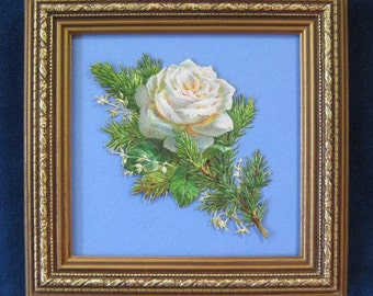 Vintage Victorian Christmas Decor White Winter Rose Die Cut Winter Greenery Fir Sprig Framed
