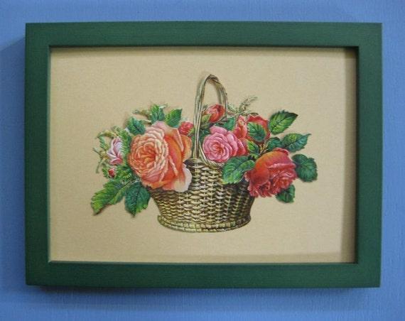 Cottage Garden Decor 1890's Rose Basket Antique Victorian Die Cut Framed