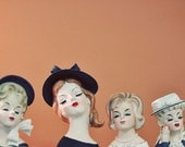 Retro Photograph,  Ladies Who Lunch, 4x6 Print, Whimsical Lady Heads, Orange, Quirky, Vintage Still Life Photo