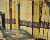 Book Photography, 4x6 Nancy Drew print, Its A Mystery, Old Books, Pastel Yellow, Girls Room Decor