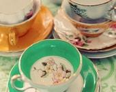 Tea Cup Photograph, Still Life Photography,Shabby Chic, Kitchen Decor, Fine Art Print, Mustard Yellow, Mint Gren