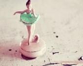 Still Life Ballerina Photograph, 5x5 Print, Girls Room, Nursery Decor, Pale Pastel Color, Wall Art