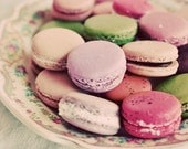 Food Photography, Macaron Platter 8x10 Print, Shabby Chic Pink Cookie Photo, Kitchen Art, Cafe Decor