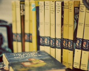 Nancy Drew Photograph, Vintage Book Photo, Still Life Photography, Yellow, Student, Librarian, Girls Room, Bedroom Decor, Office