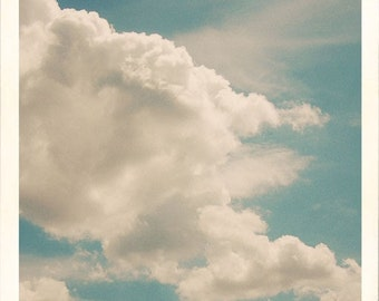 Cloud Photograph, Nursery Decor, Fine Art Print, Blue Sky Photo, Landscape Photography, Whimsical Photo
