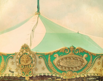 Carousel Photograph, Surreal, Mint Green, Gold, Nursery Decor, Fine Art Print, Merry Go Round, Vintage Style