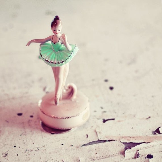 Ballerina Photograph, Shabby Chic,  Nursery Decor, Pink, Mint, Pale, White, Girls Room, Still Life, Pastel, Square