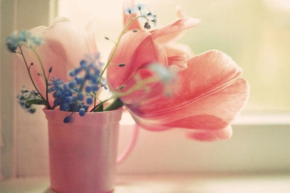 Pink, Flower, Photography, Shabby Chic, Peach, Soft, Elegant, Bedroom Decor, Kitchen Art, Bouquet, Simple