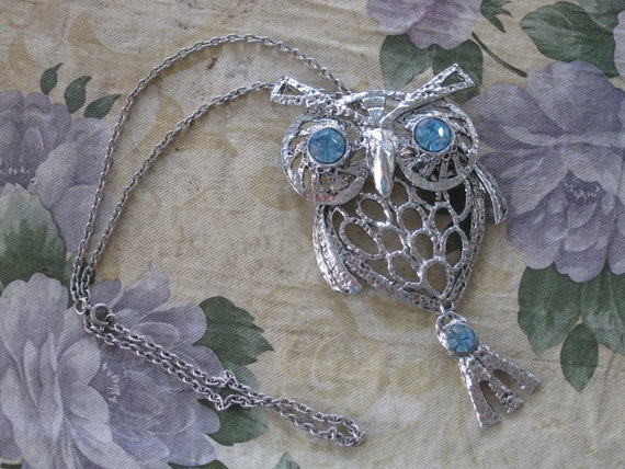 Large Beautiful Articulated Owl Necklace SHIPS FREE Blue Eyed