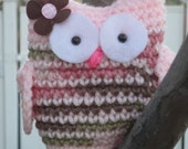 Crochet Knit Pink Girly Plush Owl -  Bff's best friends forever - Valentine's Day