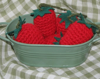 Crochet Play Food Strawberries - Photo shoot -Great for preschoolers - Summer picnics and 4th of July