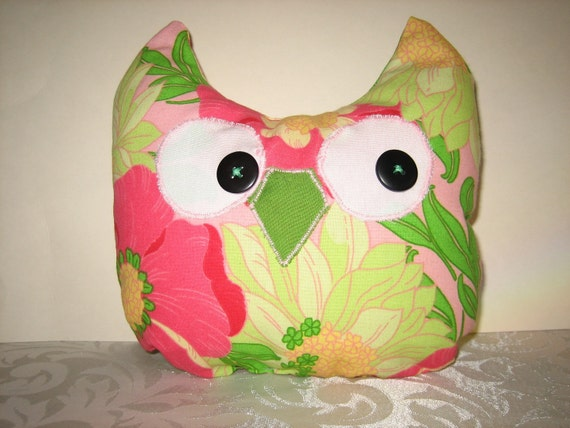 Pink and Green Floral Whimsical Owl - One of a Kind