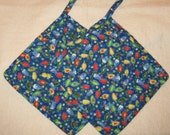 Quilted Christmas Lights Pot Holders Pair of Large Oversized