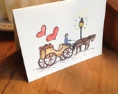Watercolor Vintage Love Carriage New Orleans Downtown -- Single Card, Set of 4, Luxury Box Set of 10 and Bulk Packs