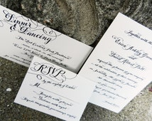 Calligraphy Wedding Invitations Love No.144 with real handwritten calligraphy and rsvp included.