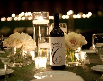 Calligraphy Table Number Labels for Wine Bottles, Weddings and Special Events 25 Numbers Ready to Ship