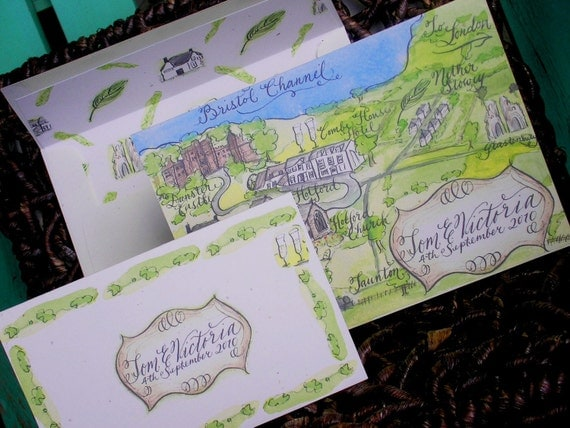 Map Wedding Invitation with Calligraphy and Watercolor, Love No. 50, Custom hand painted and handwritten