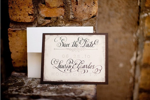 Wedding Calligraphy Save the Date Love No. 22 Vintage