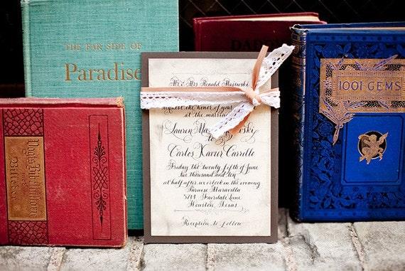 "Calligraphy Wedding Invitations Vintage Glam Love No. 6 ""Longbourne"""