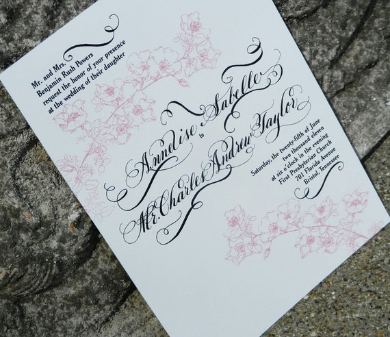Handwritten Wedding Invitations Envelopes: Items Similar To Wedding Invitations Handwritten With