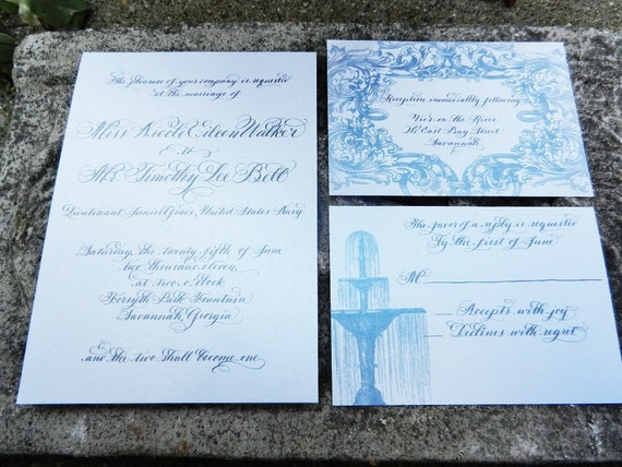 Wedding Invitation Vintage Calligraphy On Metallic Cotton Cardstock in any color Love No.0874