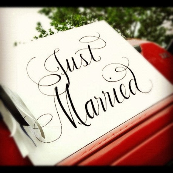 Calligraphy Just Married Sign...Handpainted with Vintage Ribbon and Lace custom made to order