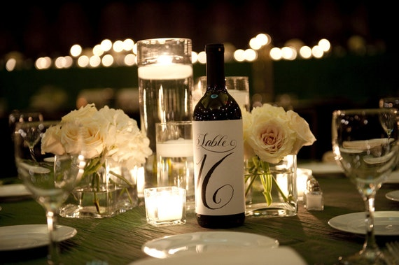Calligraphy Table Number Labels for Wine Bottles, Weddings and Special Events 20 Numbers Ready to Ship