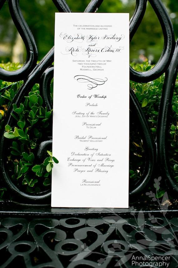 Calligraphy Handwritten and Typeset Wedding Program on Cotton Paper