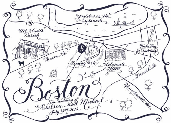 Calligraphy Black and White Wedding Map